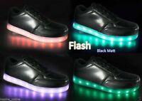 KIDS GIRLS TRAINERS FLASHING LED LUMINOUS LIGHTS USB CHARGER LACE UP SIZE NEW
