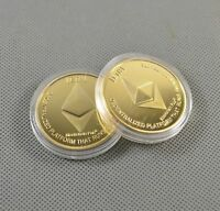 Gold Plated Commemorative Collectible Golden Iron ETH Ethereum Miner Coin New hi