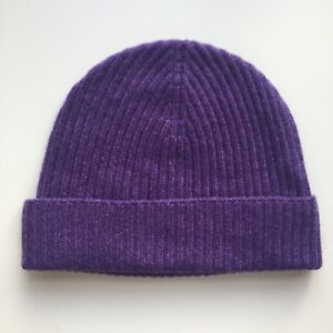 100% Pure Cashmere Purple / Amethyst Ribbed Beanie Hat Fisherman Knit BNWT