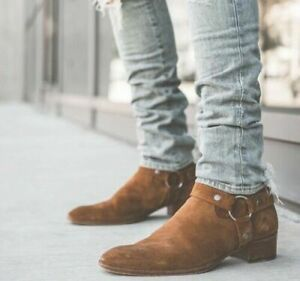 Handmade tan suede boots, men side zipper boots, leather boot mens, ankle boots