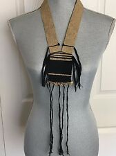 NEW Free People Ghost Dancer Necklace Organic Cotton woven Black tan MSRP $198.