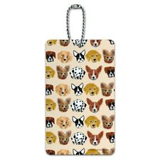 Lots of Dogs Dalmatian French Poodle Corgi Pattern Luggage Card Carry-On ID Tag