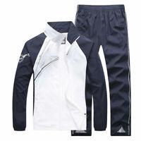 2PC Set Men's Tracksuit Sport Jacket Pants Casual Jogging Athletic Trainer Suit