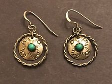 Vintage SW Native MEXICO FANCY Round Carved STERLING SILVER Turquoise EARRINGS