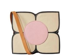 Orla Kiely Square Flower Leather Bag Black (Yellow and Pink)SAMPLE