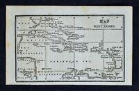 1830 Nathan Hale Map West Indies Cuba Jamaica Florida Keys Bahamas Caribbean Sea