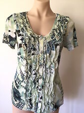 Women's TOP Size S green tone print frills button front short sleeve cami layer