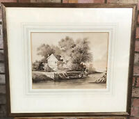 19thC Watercolour 'River Scene, Suffolk' Dated 1827 By Charles Savill Onley