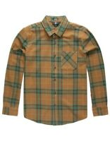Volcom Mens Shirt Brown Size Small S Caden Plaid Longsleeve Button Down $60 #047