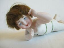Antique German Bisque Young Boy Doll Figurine Laying Down W/ Hair & Navy Outfit