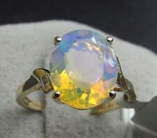 2.08 cts Genuine Ethiopian Opal Solitaire & Diamond Size 7 Ring  10k Yellow Gold