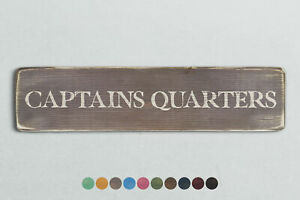 CAPTAINS QUARTERS Vintage Style Wooden Sign. Shabby Chic Retro Home Gift