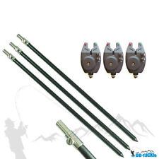 3 x elektronischer Bissanzeiger + 3 x Aluminium Bankstick 50 - 90cm Rutenhalter