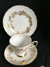 tuscan  bone china trio coffee tea 1950s vintage gold cup saucer plate trellis (