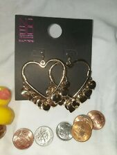 Brand name large heart dangly earings golden Quality  NO BOUNDRIES