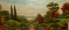 HUGE OIL ON CANVAS WOMAN WITH A BASKET DUTCH LANDSCAPE PAINTING UNSIGNED