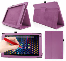 """Purple PU Leather Case For Archos 101 Neon 10.1 """" Tablet + Red Stylus Pen!"""