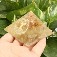 Labradorite Gem Orgone Pyramid Tree of Life Reiki Chakra Energy Healing Crystal