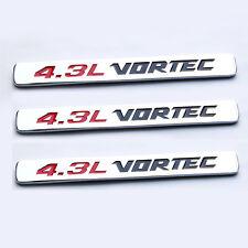 3x OEM Chrome 4.3L VORTEC Emblems HOOD Engine Badge Silverado Z71 GMC Sierra YU