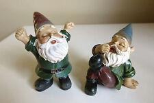 Miniature Gnomes Set of 2 Gnome Village Garden Nome 2.5 in.T Mini Sleepy Elves