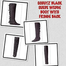 Schutz Black Suede Knee High Wedge Boot With Fringe Size 8 New MSRP: $450