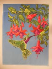 Red Throated Hummingbird at Fuchsia Flower for Spring Summer on Blue Garden flag