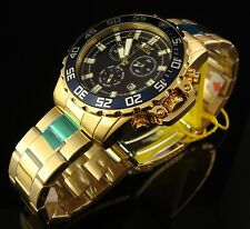 INVICTA MENS 45MM SWISS 18K GOLD ION PLATED CHRONO DIVER  W STUNNING  BLUE DIAL