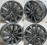 "21"" Turbine Twist Style Wheels Fits Tesla Model S 21x8.5 5x120 Gun Metal Rims"