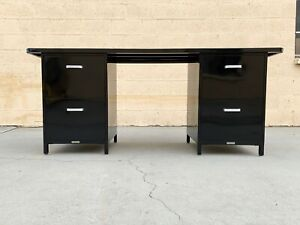 1960s McDowell Craig Knee Space Credenza Desk, Refinished in Black
