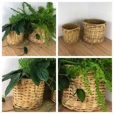 Wicker plant pots / Storage/ display baskets x2 Retro