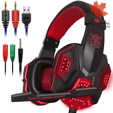 Gaming Headset with Mic and LED Light for Laptop Computer, Cellphone, PS4 and th