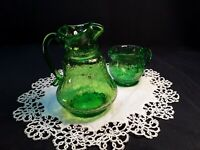 Vintage Hand Blown Lime Green Crackle Glass Mini Pitcher&Creamer Applied Handle
