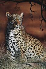 Sitting Leopard by Rajendra Singh Art Print Wildlife Safari Poster 11x14