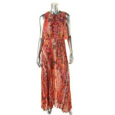 Calvin Klein Womens Orange Snake Print Knife Pleat Maxi Dress 10 Retails $149.00