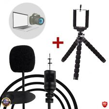 Mini Flexible Octopus Stand Tripod + Lavalier Microphone Lapel For PC/Camera