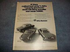 1972 Alfa Romeo 2000 Berlina Sedan Spider Veloce GT Veloce Coupe Vintage Ad