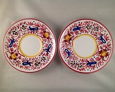 Pair of Beautiful Deruta Hand Painted Saucers Blue & Red