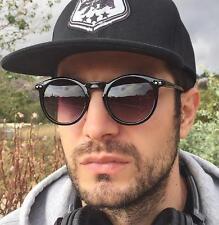 Mens Cool Round Glossy Black Keyhole Trendy Hipster Designer Sunglasses 9727 BLK