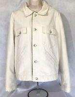 Banana Republic Womens White Denim Jacket with double-lure tan lining Sz L