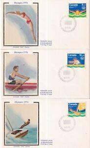 CANADA 1975 COLORANO SILK F.D.C. SET #B4/6, WATER SPORTS OLYMPICS 1976 !! C6
