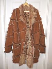 MEN'S RED FLY CANADA LEATHER & FUR HEAVY WINTER COAT SZ 52 BUTTON FRONT