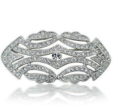 GORGEOUS VINTAGE INSPIRED RHODIUM  SILVER  PLATED CZ/RHINESTONE CLASSIC  BROOCH