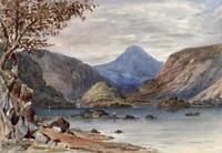 DERWENTWATER CUMBRIA LAKE DISTRICT Victorian Watercolour Painting 19TH CENTURY