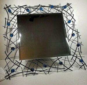 Square Metal Wall Mirror - Welded Black Metal with Dark Blue Spheres  -21x22