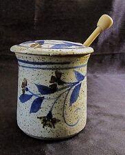 GLAZED ART POTTERY HONEY POT w/ Notched Lid & Wooden Honey Wand - Pottery Stamps
