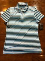 Womens Size Medium Nike Polo Golf Shirt Blue Striped 884867-482