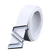 Men Women Stylish Automatic Letter Buckle Leather Waist Strap Belts Buckle Belt