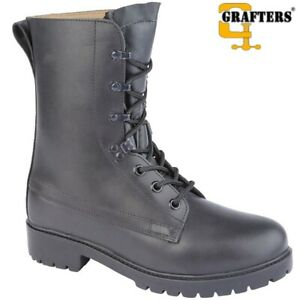GRAFTERS BRITISH ARMY STYLE COMBAT ASSAULT BOOTS FULL GRAIN BLACK LEATHER MENS