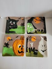 Halloween Set Of 4 MWW Market Mini Plates Witch Cat ghost With Original Box