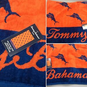 Tommy Bahama Marlin Logo Beach Towel Blue Orange Fish Ocean Pool 36x68 NEW